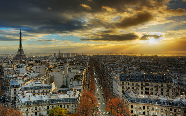 Last Breath of a fading Sun Over Paris HDR (II) | Paris City, France |Paris skyline roofs | eiffel tower | tour eiffel | davidgiralphoto.com