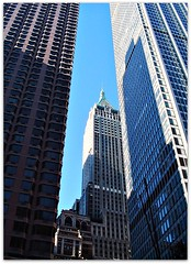 Tall Skyscrapers of the Financial District, including 40 Wall Street Building, Center; Manhattan, New York City