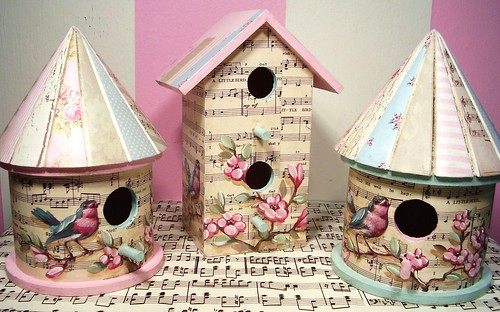 Mother's Day birdhouses (hand painted birds and flowers over vintage sheet music)