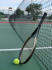 rackets(0.0), paddle tennis(0.0), luxury vehicle(0.0), strings(1.0), sport venue(1.0), tennis court(1.0), tennis(1.0), sports(1.0), net(1.0), ball game(1.0), racquet sport(1.0),