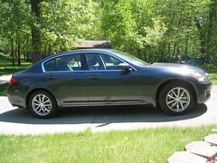 sports car(0.0), automobile(1.0), automotive exterior(1.0), executive car(1.0), wheel(1.0), vehicle(1.0), automotive design(1.0), rim(1.0), infiniti g(1.0), bumper(1.0), sedan(1.0), land vehicle(1.0), luxury vehicle(1.0),