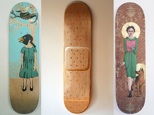 Skate decks as wall art apartment therapy for Best paint for skateboard decks