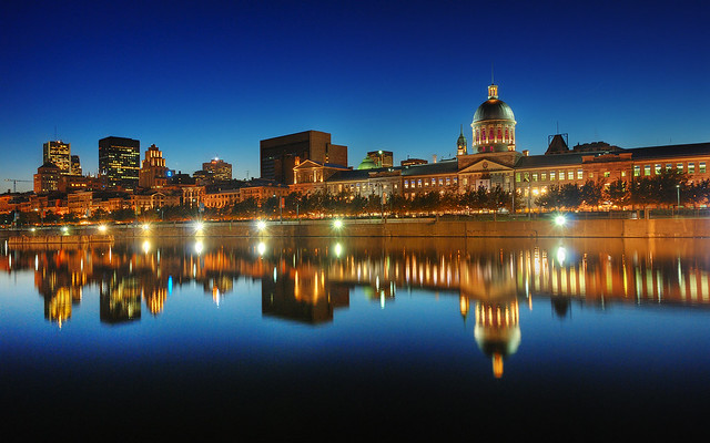 "Old Montreal Skyline at the Blue Hour | HDRThe ""Stone Boat"" Reflection II 