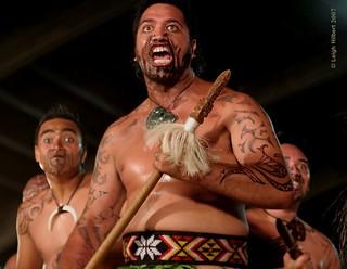 Maori performance: Te Wharekura Kuapapa Maori a Roheo Rakaumanga – Part 2 of 3 {The Men} -- 44th Merrie Monarch Hula Festival Hilo Hawaii Night Hoike April 11, 2007 Hilo Hawaii (Six images)