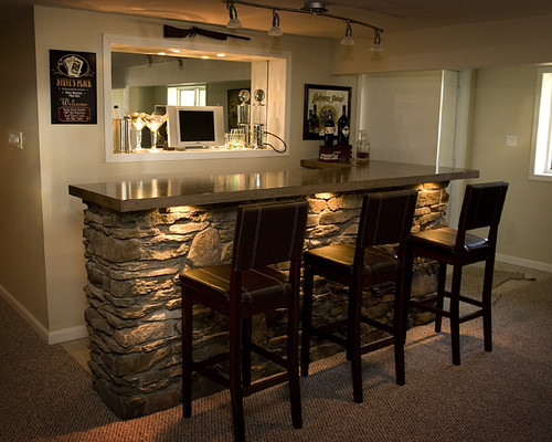 basement bar with built in lighting stone cover by aliblog flickr photo sharing. Black Bedroom Furniture Sets. Home Design Ideas