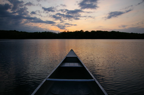 sunset lake water peace tranquility calm canoe emptyseat upsala pinelake