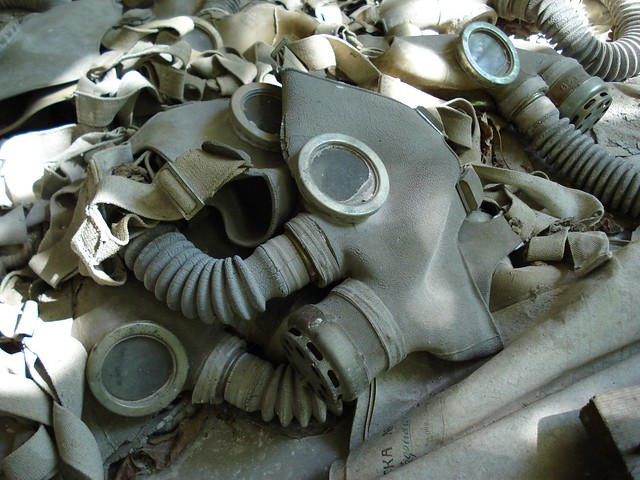 Gas Masks on the floor of Prypiat School