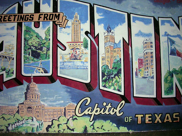 Greetings from austin postcard mural by cleong for Austin postcard mural