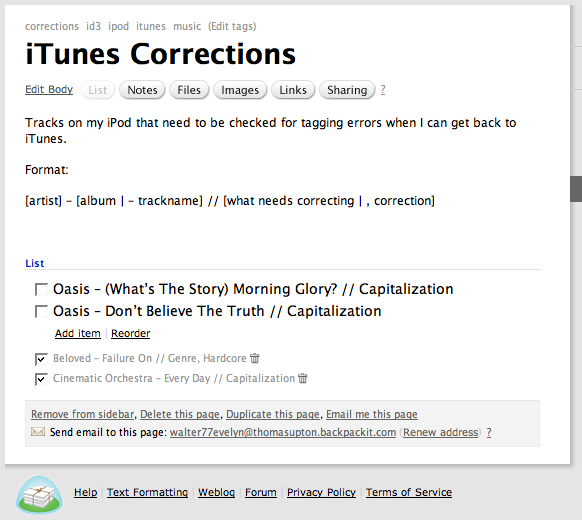 Backpack iTunes Corrections Queue