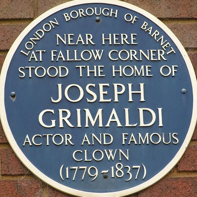 Joseph Grimaldi blue plaque - Near here  at Fallow Corner  stood the home of  Joseph Grimaldi  actor and famous  clown  (1779-1837)