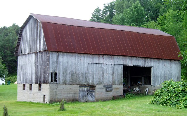 metal-roofed barn