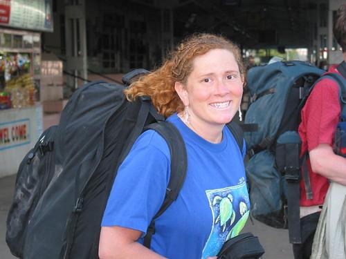 Carol backpacking through India.