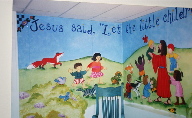 Church nursery mural flickr photo sharing for Church mural ideas