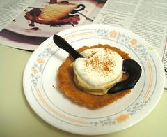 Espresso semifreddo with almond florentine
