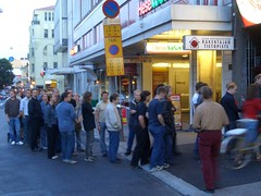 A long queue outside the club