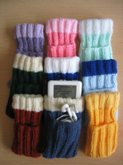 Hand-knitted iPod socks
