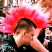 Boy with pink mohawk, England