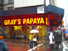 The famous Gray's Papaya on 8th Avenue by permanently scatterbrained, on Flickr