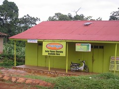 Solar phone charging on a Ugandan island