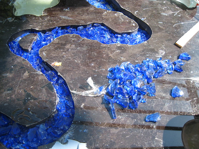 Crushed Glass Countertops Of Working On The Countertop Prototype Laying The Blue