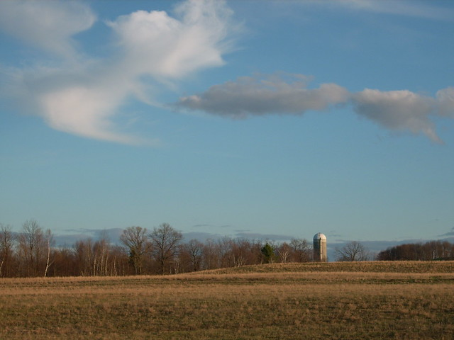 clouds over silo