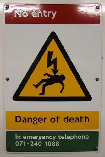 No entry Danger of death by ax2groin