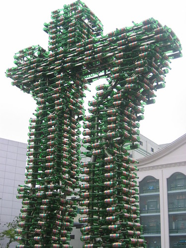 TsingTao beer bottle statue