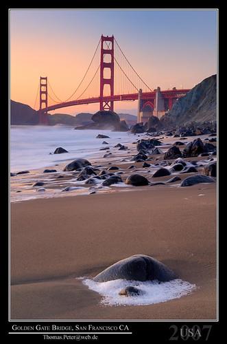 sanfrancisco california trip travel bridge sunset sea vacation usa holiday beach monument water zar golden sand gate dusk unitedstatesofamerica wave shore northamerica 2007 thomaspeter thpeter