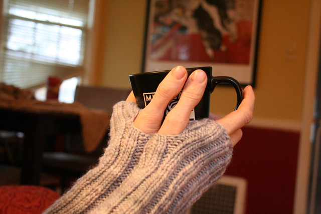 coffee and wristwarmers