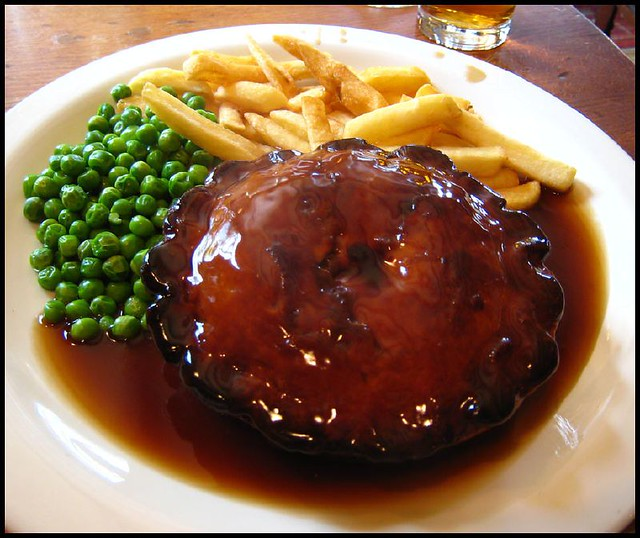 Steak and Ale Pie | with chips, peas and gravy. From Herefor ...
