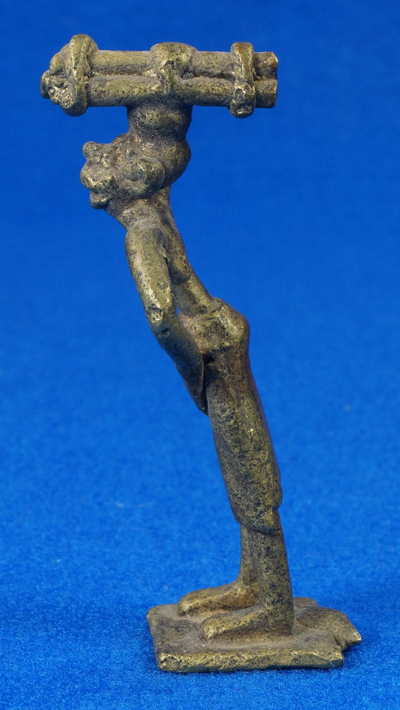 RD15104 4 Vintage African Hand Made Folk Art Primitive Figurines Solid Cast Brass Burkina Faso Yoruba West Africa DSC07107