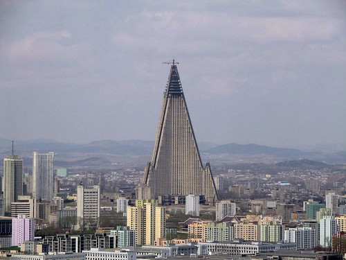 Ryugyong hotel dominating the Pyongyang skyline