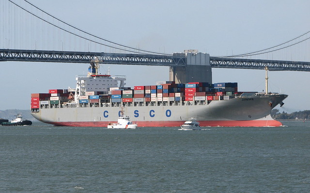 Cosco Container Ship Side View