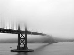 Golden Gate bridge against fog