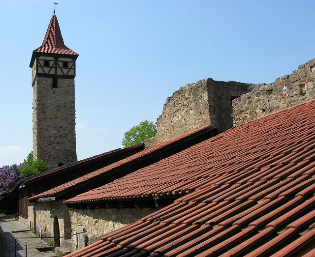 Barns of the church-castle (fortified church) in Ostheim