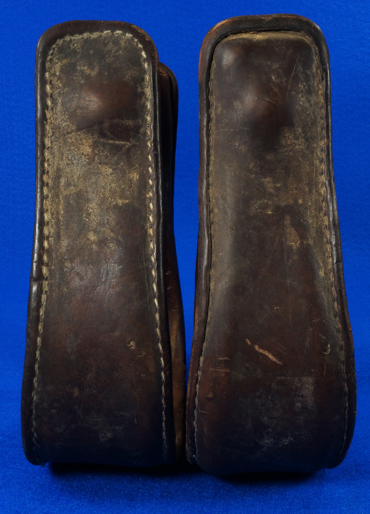 RD14952 Vintage Pair of Leather Over Wood Stirrups DSC07354