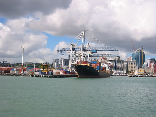 Ship in Auckland docks