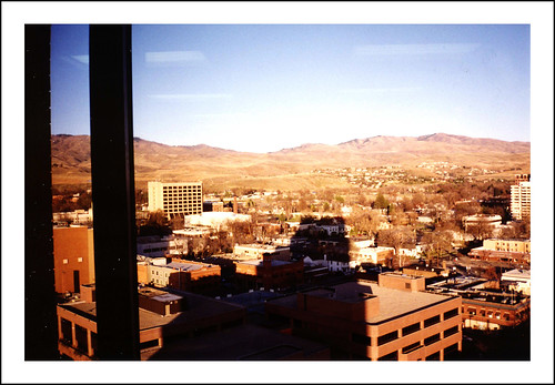 city usa sun mountain reflection window view idaho boise 1994 scannedprint curiouskiwi:posted=2007