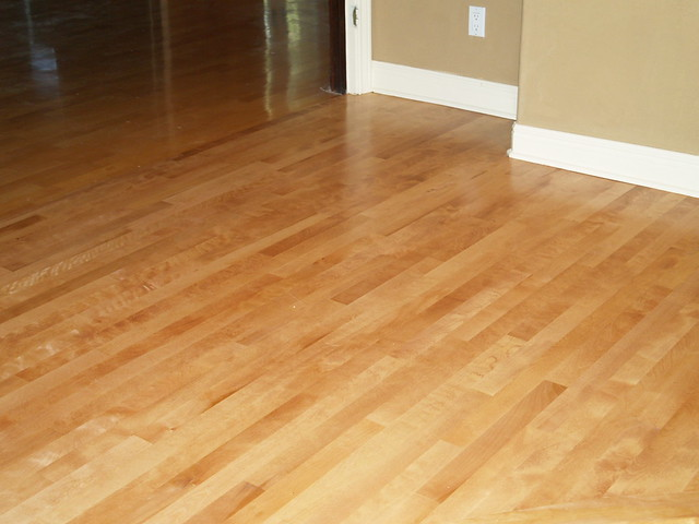Refinished maple wood floor, custom stained