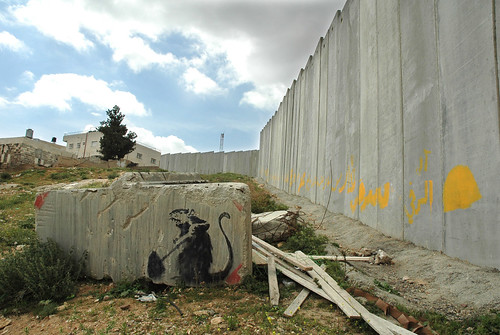 Banksy rat and Wall at Al Quds University, Jerusalem
