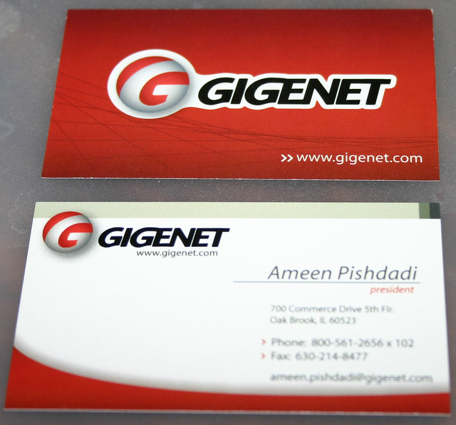 New GigeNET business cards