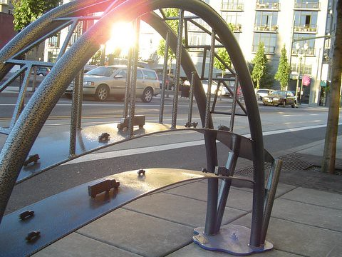 cool bike rack in downtown Portland oregon