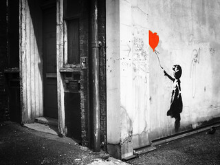 banksy: balloon girl. Old Street London