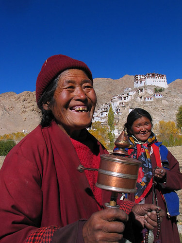 Laddakh Lady with Prayer Wheel, India