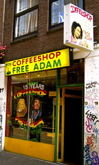 Franchises like this one, each flying proudly the red, yellow, and green, saturate Amsterdam. There must be some sort of ban on putting a sign outside that says 'BUY YOUR MARIJUANA HERE, WIDE-EYED AMERICAN TOURISTS', because they all just said 'coffee shop'.