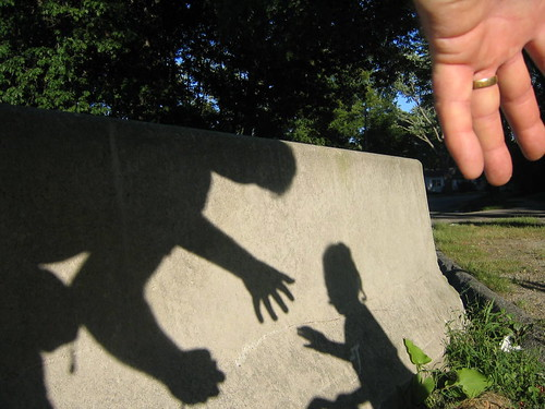 Hand with shadows, father & daughter