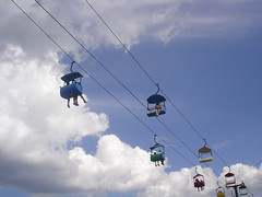 extreme sport, cable car, blue, sky,
