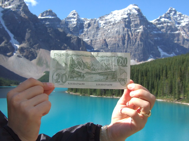 Moraine Lake, once featured on the back of the Canadian $20 dollar bill