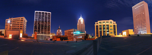 sky panorama skyline night buildings dark downtown cityscape parkinggarage pano fortwayne dscf828 utatafeature