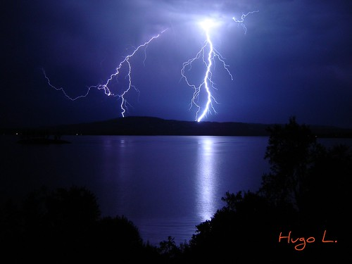 Lightning on Calafquén Lake, Chile.